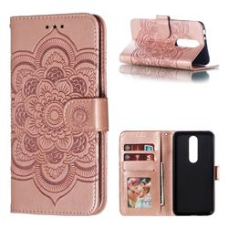 Intricate Embossing Datura Solar Leather Wallet Case for Nokia 5.1 Plus (Nokia X5) - Rose Gold