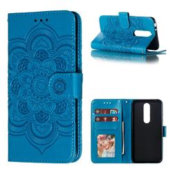 Intricate Embossing Datura Solar Leather Wallet Case for Nokia 5.1 Plus (Nokia X5) - Blue