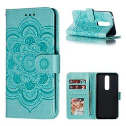 Intricate Embossing Datura Solar Leather Wallet Case for Nokia 5.1 Plus (Nokia X5) - Green