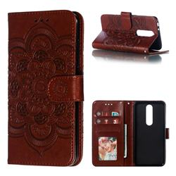 Intricate Embossing Datura Solar Leather Wallet Case for Nokia 5.1 Plus (Nokia X5) - Brown