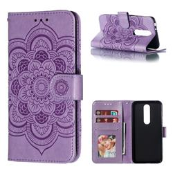 Intricate Embossing Datura Solar Leather Wallet Case for Nokia 5.1 Plus (Nokia X5) - Purple
