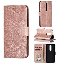 Intricate Embossing Lace Jasmine Flower Leather Wallet Case for Nokia 5.1 Plus (Nokia X5) - Rose Gold
