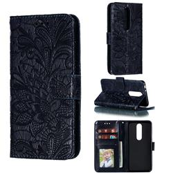 Intricate Embossing Lace Jasmine Flower Leather Wallet Case for Nokia 5.1 Plus (Nokia X5) - Dark Blue