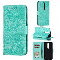 Intricate Embossing Lace Jasmine Flower Leather Wallet Case for Nokia 5.1 Plus (Nokia X5) - Green