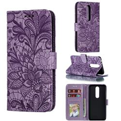 Intricate Embossing Lace Jasmine Flower Leather Wallet Case for Nokia 5.1 Plus (Nokia X5) - Purple