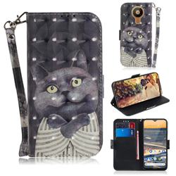 Cat Embrace 3D Painted Leather Wallet Phone Case for Nokia 5.3