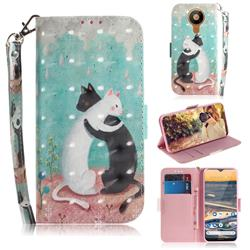Black and White Cat 3D Painted Leather Wallet Phone Case for Nokia 5.3