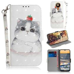 Cute Tomato Cat 3D Painted Leather Wallet Phone Case for Nokia 5.3