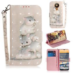 Three Squirrels 3D Painted Leather Wallet Phone Case for Nokia 5.3