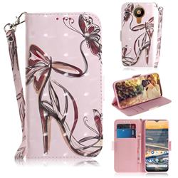 Butterfly High Heels 3D Painted Leather Wallet Phone Case for Nokia 5.3