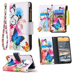 Vivid Flying Butterflies Binfen Color BF03 Retro Zipper Leather Wallet Phone Case for Nokia 5.3