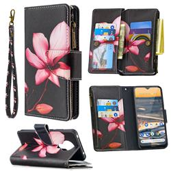 Lotus Flower Binfen Color BF03 Retro Zipper Leather Wallet Phone Case for Nokia 5.3
