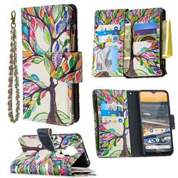 The Tree of Life Binfen Color BF03 Retro Zipper Leather Wallet Phone Case for Nokia 5.3