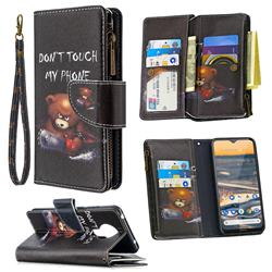 Chainsaw Bear Binfen Color BF03 Retro Zipper Leather Wallet Phone Case for Nokia 5.3