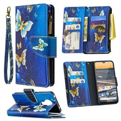 Golden Butterflies Binfen Color BF03 Retro Zipper Leather Wallet Phone Case for Nokia 5.3