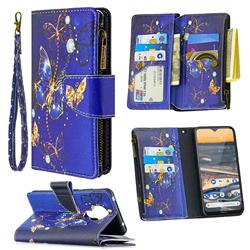Purple Butterfly Binfen Color BF03 Retro Zipper Leather Wallet Phone Case for Nokia 5.3