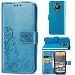 Embossing Imprint Four-Leaf Clover Leather Wallet Case for Nokia 5.3 - Blue