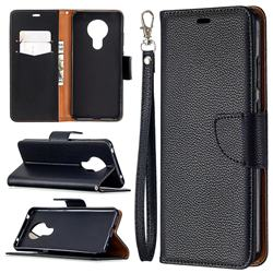 Classic Luxury Litchi Leather Phone Wallet Case for Nokia 5.3 - Black