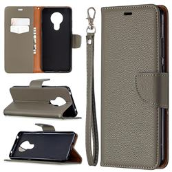 Classic Luxury Litchi Leather Phone Wallet Case for Nokia 5.3 - Gray