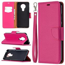 Classic Luxury Litchi Leather Phone Wallet Case for Nokia 5.3 - Rose
