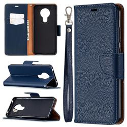 Classic Luxury Litchi Leather Phone Wallet Case for Nokia 5.3 - Blue