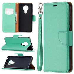 Classic Luxury Litchi Leather Phone Wallet Case for Nokia 5.3 - Green