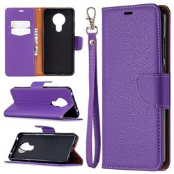 Classic Luxury Litchi Leather Phone Wallet Case for Nokia 5.3 - Purple