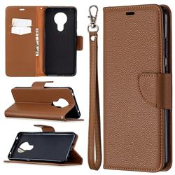 Classic Luxury Litchi Leather Phone Wallet Case for Nokia 5.3 - Brown