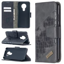 BinfenColor BF04 Color Block Stitching Crocodile Leather Case Cover for Nokia 5.3 - Black