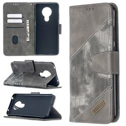 BinfenColor BF04 Color Block Stitching Crocodile Leather Case Cover for Nokia 5.3 - Gray