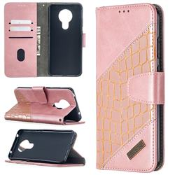 BinfenColor BF04 Color Block Stitching Crocodile Leather Case Cover for Nokia 5.3 - Rose Gold