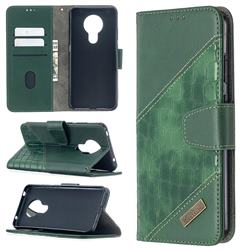 BinfenColor BF04 Color Block Stitching Crocodile Leather Case Cover for Nokia 5.3 - Green