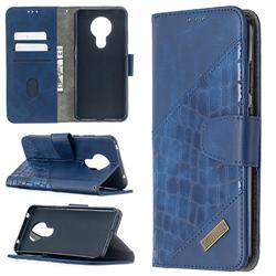 BinfenColor BF04 Color Block Stitching Crocodile Leather Case Cover for Nokia 5.3 - Blue