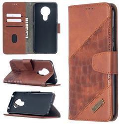 BinfenColor BF04 Color Block Stitching Crocodile Leather Case Cover for Nokia 5.3 - Brown