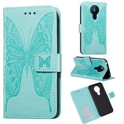 Intricate Embossing Vivid Butterfly Leather Wallet Case for Nokia 5.3 - Green