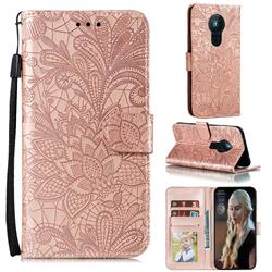 Intricate Embossing Lace Jasmine Flower Leather Wallet Case for Nokia 5.3 - Rose Gold