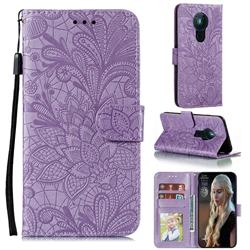 Intricate Embossing Lace Jasmine Flower Leather Wallet Case for Nokia 5.3 - Purple