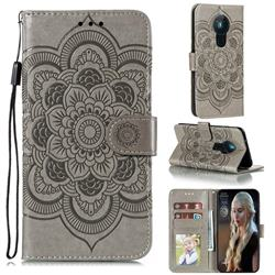 Intricate Embossing Datura Solar Leather Wallet Case for Nokia 5.3 - Gray
