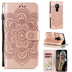 Intricate Embossing Datura Solar Leather Wallet Case for Nokia 5.3 - Rose Gold