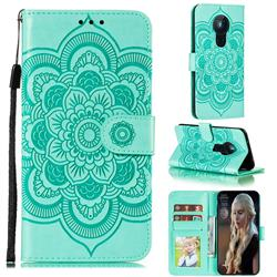 Intricate Embossing Datura Solar Leather Wallet Case for Nokia 5.3 - Green