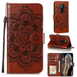 Intricate Embossing Datura Solar Leather Wallet Case for Nokia 5.3 - Brown