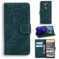 Intricate Embossing Tiger Face Leather Wallet Case for Nokia 5.3 - Green
