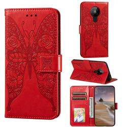 Intricate Embossing Rose Flower Butterfly Leather Wallet Case for Nokia 5.3 - Red