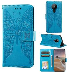 Intricate Embossing Rose Flower Butterfly Leather Wallet Case for Nokia 5.3 - Blue