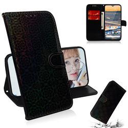 Laser Circle Shining Leather Wallet Phone Case for Nokia 5.3 - Black