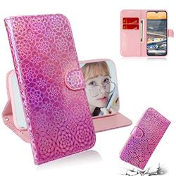 Laser Circle Shining Leather Wallet Phone Case for Nokia 5.3 - Pink