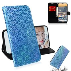 Laser Circle Shining Leather Wallet Phone Case for Nokia 5.3 - Blue