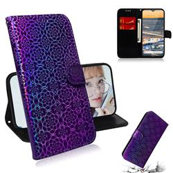 Laser Circle Shining Leather Wallet Phone Case for Nokia 5.3 - Purple