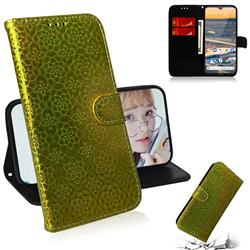 Laser Circle Shining Leather Wallet Phone Case for Nokia 5.3 - Golden