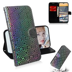 Laser Circle Shining Leather Wallet Phone Case for Nokia 5.3 - Silver